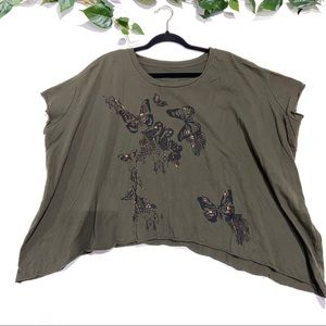 We The Free beaded crop oversized military green
